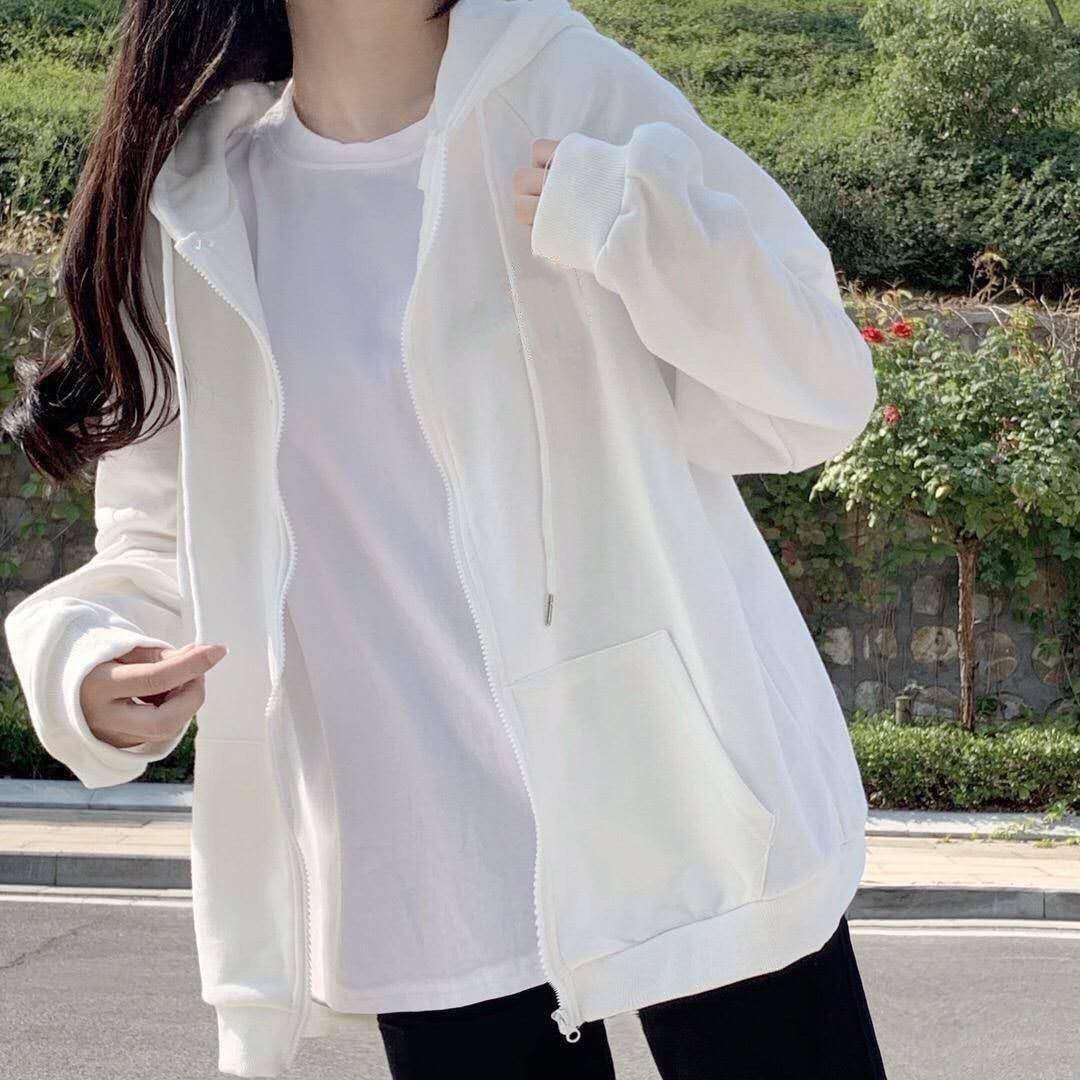 Harajuku with hat hoodies women zipper kangaroo pocket casual loose solid color sweatshirt female 2020 fashion new female tops 23