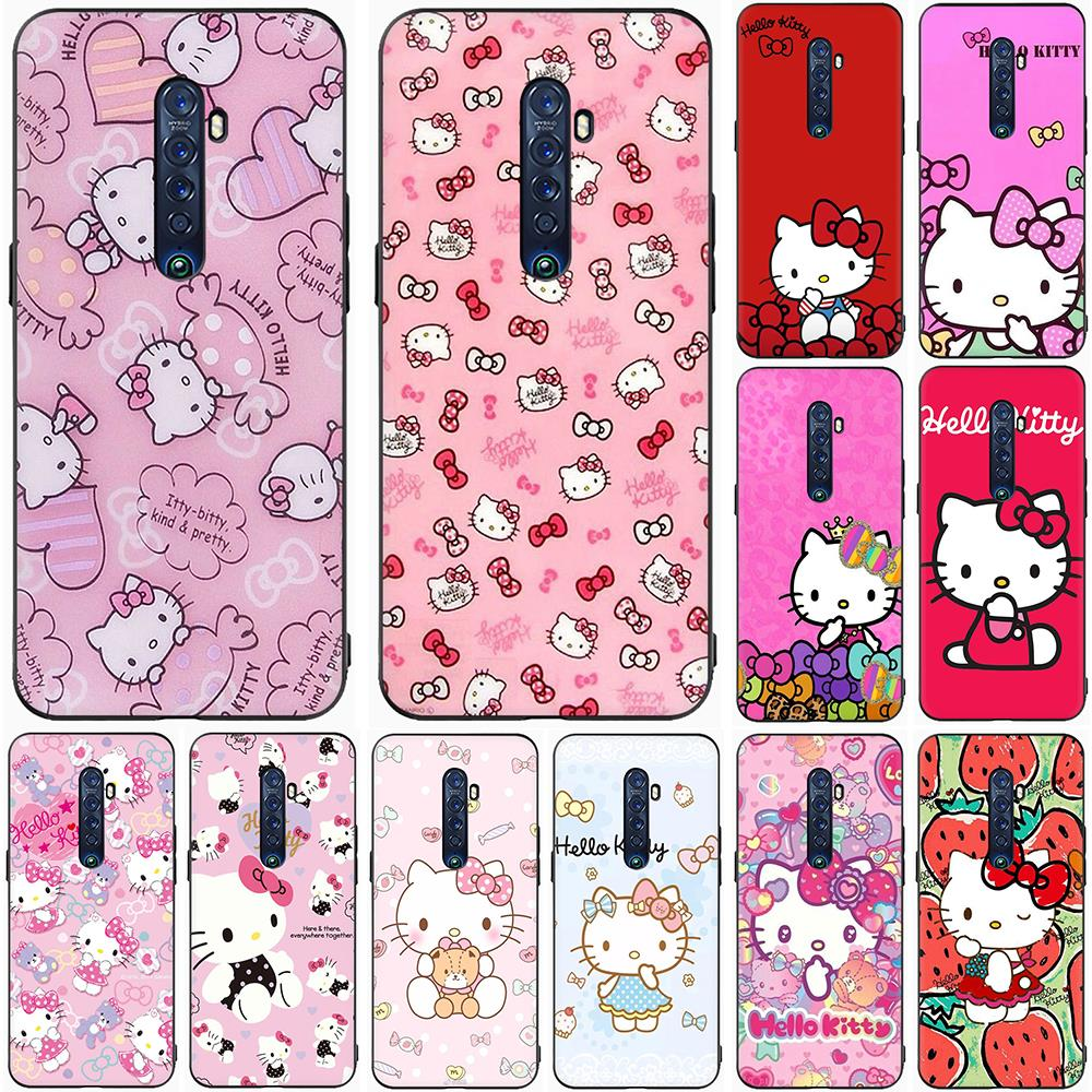 Cute Hello kitty Silicone Phone Case for OPPO Reno 2 Z 10 X Ace 2F 2Z 3 Pro Realme 2 A5 3 5 Pro Q X2 XT X50 X Lite|Half-wrapped Cases|   - AliExpress