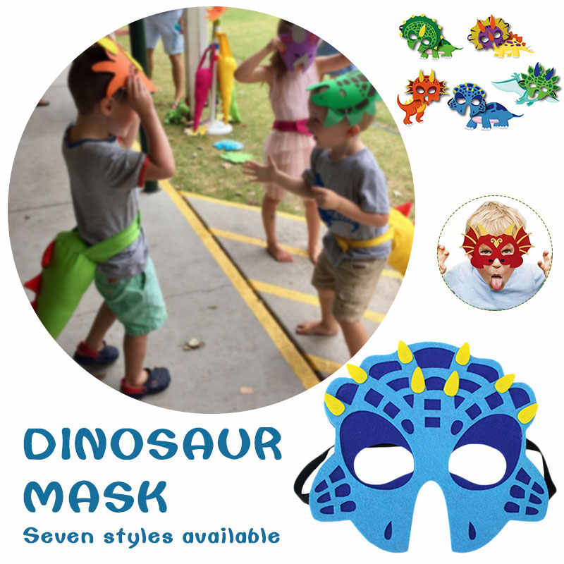 1 PC Halloween Merasa Dinosaurus Wajah Topeng Anak-anak Perlengkapan Pesta Ulang Tahun Anak-anak Anak Gadis Dinosaurus Kostum Hadiah Baby Shower