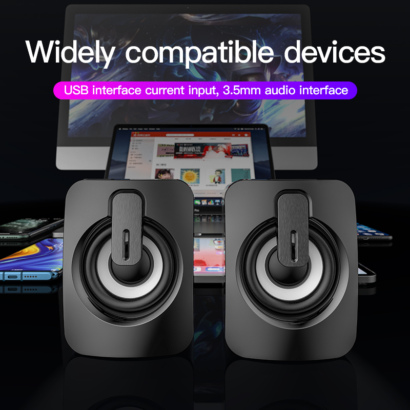 Mini Computer Speaker USB Wired Speakers 3D Stereo Sound Surround Loudspeaker For PC Laptop Notebook Not bluetooth Loudspeakers 2