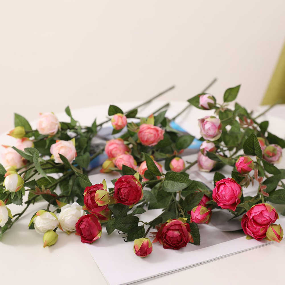 7 Kepala Buatan Mawar Bunga Cabang Bouquet Dekorasi untuk Rumah Pernikahan Holding Bunga Bouquet Bunga Palsu untuk Indoor Dekorasi