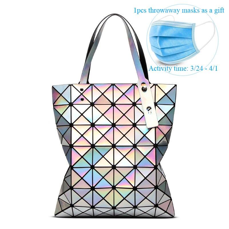 Fashion Laser Design Bag Women Geometric Tote Bag Ladies Shoulder Bags Hologram Laser Plain Folding Handbags Dropshipping