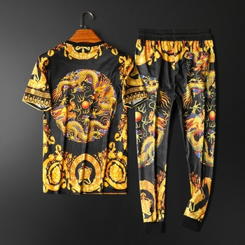 Dragon Gold Print Two Piece Set High Quality Palace Designer Men Tracksuit Streetwear Jogger Sets Big Size 5xl Ropa Para Hombre