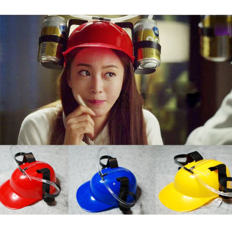 Fancy Helmet Drinking <font><b>Beer</b></font> Cola Coke Soda Miner <font><b>Hat</b></font> Lazy Lounged Straw Cap Birthday Party Cool Unique Toy Prop Holder Guzzler image