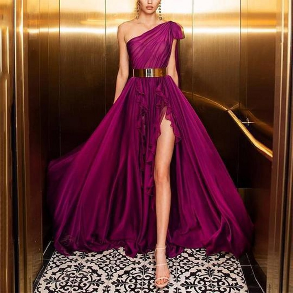 One Shoulder Prom Dresses Long Style A Line  Sexy Split Lace Edge Fuchsia Elegant Formal Evening Gowns New Fashion 2020 Hot