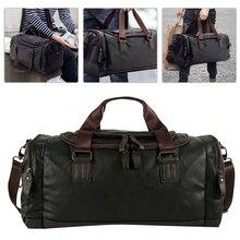 Waterproof Travel Bag Men's Black Handbag PU Leather Large Capacity Duffle Multifunction Tote Casual Crossbody Bags
