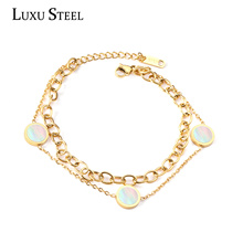 Bracelets Gold Chains Stainless-Steel Round Pulsera Inoxidable Acero Silver-Color Double-Layers