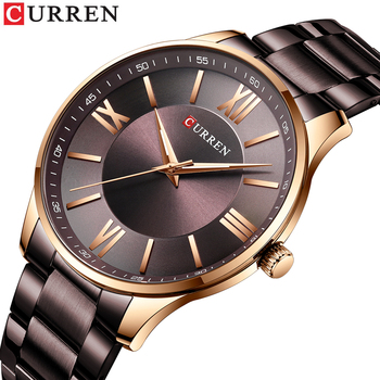 CURREN TOP Brand Mens Watches Casual Quartz Stainless Steel Wristwatch Simple Fashion Clock Male Brown Watch - discount item  50% OFF Men's Watches