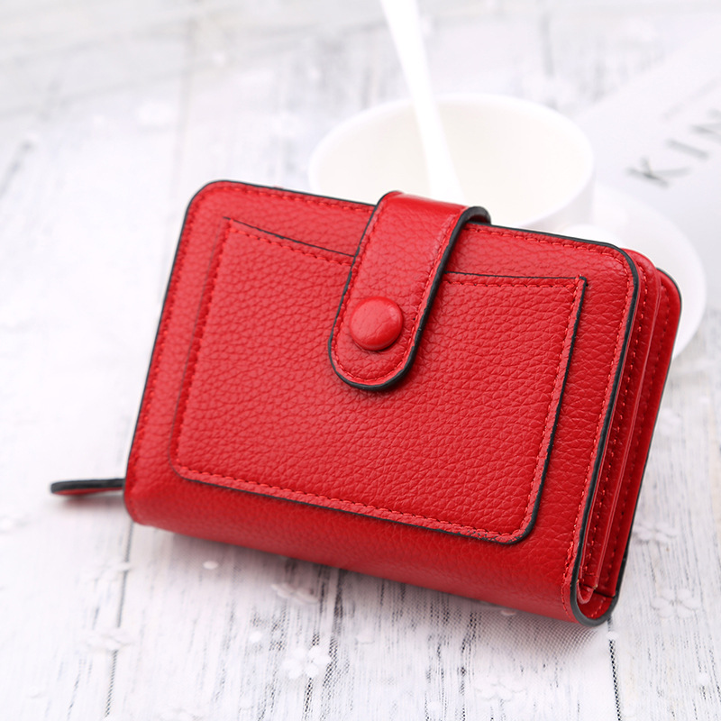 Leather Women's Wallets New Fashion Multifunctional Buckle Litchi Small Mini Purses Women Solid Color Coin Purses Female Wallet