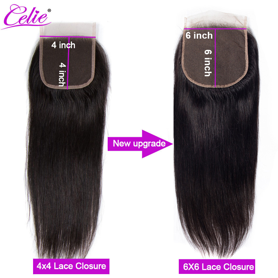 Image 4 - Celie 6x6 Lace Closure Straight Human Hair Closure With Baby Hair Free/Middle/Three Part Remy Brazilian Hair Lace Top Closure-in Closures from Hair Extensions & Wigs
