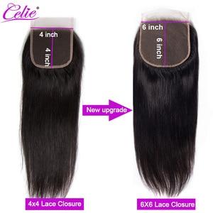 Image 4 - Celie 6x6 koronki zamknięcie proste włosy ludzkie zamknięcie z Baby włosy darmo/średnim/trzy część włosy brazylijskie remy koronki Top zamknięcie