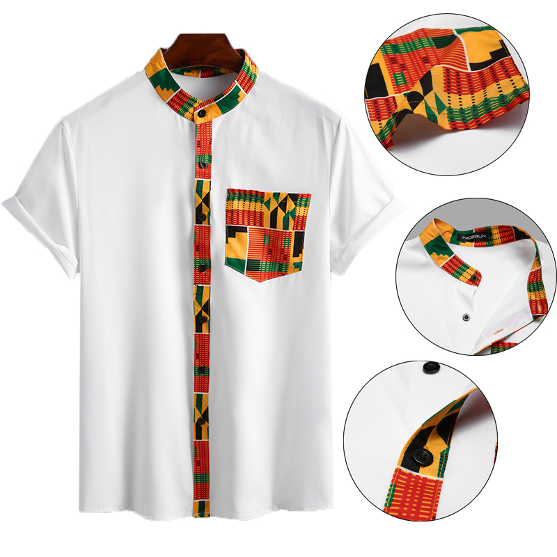 INCERUN Men Floral Short Sleeve Stand Collar Shirts Ethnic Printed Shirt Vintage Loose Buttons Streetwear African Clothes S-3XL7