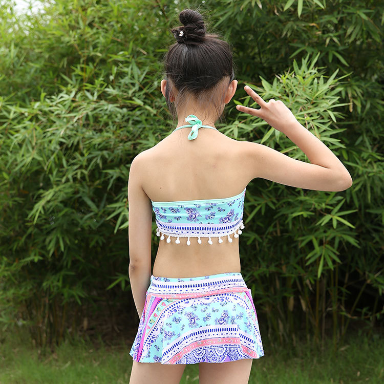 KID'S Swimwear Little Girl Split Skirt-Ethnic-Style Printed Cute Baby Princess GIRL'S Swimsuit Beach Young Children