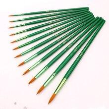 цены 12Pcs Round Shape Nylon Hair Wooden Handle Art Lover Student Children Watercolor Paint Painting Brush Set Art Supplies
