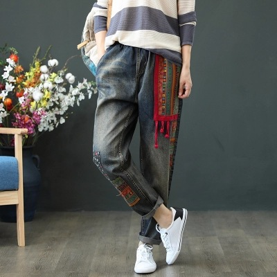 Autumn New Style Korean-style Literature And Art Retro Embroidered Frog Applique Loose-Fit Jeans City Casual Versatile Elastic W