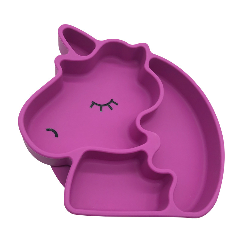 Unicorn Plate Horse CHILDREN'S Silicone Service Plate Non-slip Belt Suction Seperated Bowl Manufacturers Low Price Wholesale