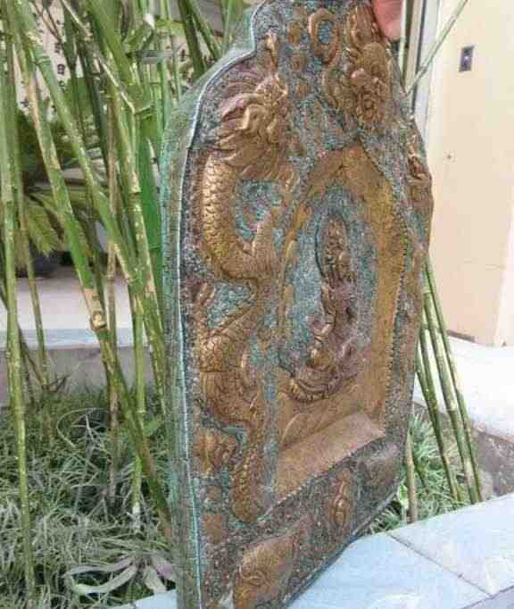 ทิเบตทองแดงทองแดง Inlay Turquoise 24K Gold Two Dragon & ช้าง TaRa Tangka