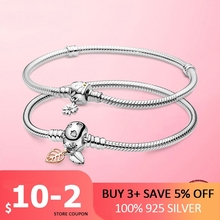 Hot Sale 925 Sterling Silver Moments Daisy Flower Leaves Clasp Snake Chain Bracelets & Bangles for Women Women Jewelry Pulseira