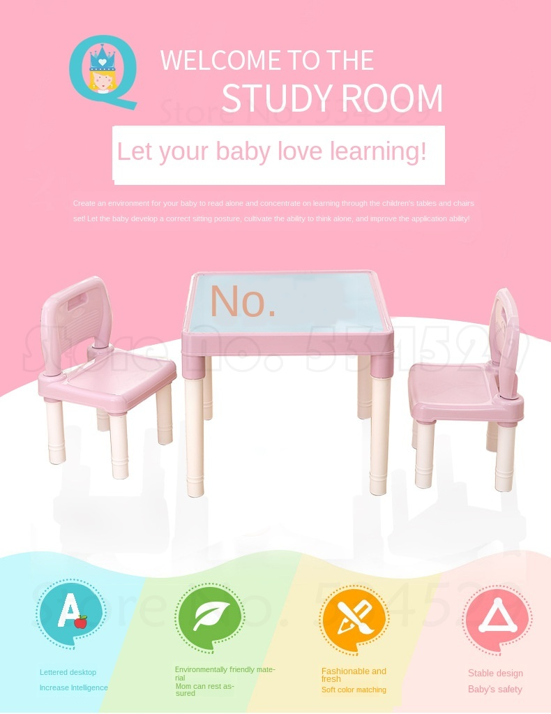 Children's Table And Chair Set Kindergarten Baby Study Table And Chair Children's Desk Chair Home Plastic Toy Writing Desk