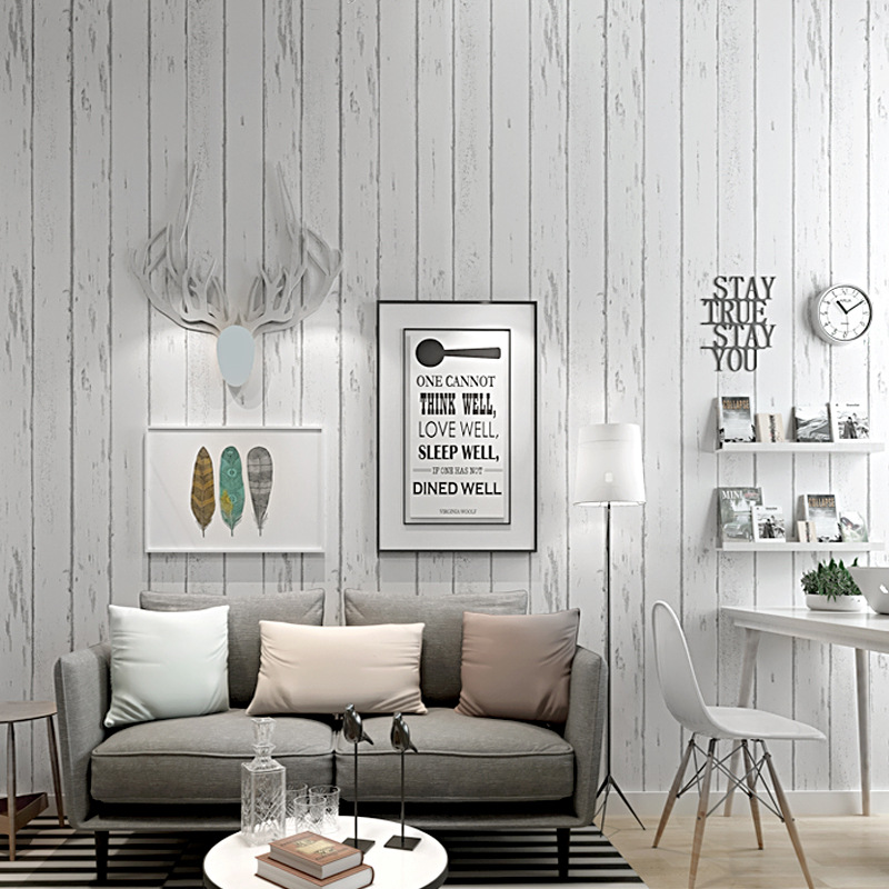 White Stripes Retro Mediterranean Style Nostalgic Wallpaper Imitation Board Wood Grain Bedroom Living Room Background Northern E
