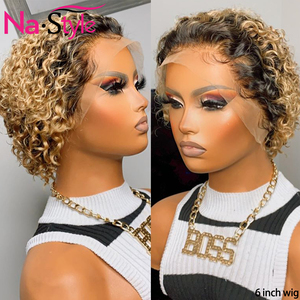 colored human hair wigs for black women pixie wig human hair 13x4 1b/30 blonde lace front wig colored curly bob remy wigs 130%