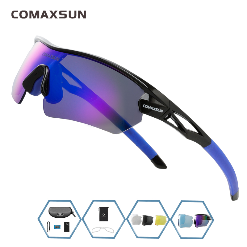 COMAXSUN Professional Polarized Cycling Glasses Bike Goggles Outdoor Sports Bicycle Sunglasses UV 400 With 5 Lens TR90 2 Style 16