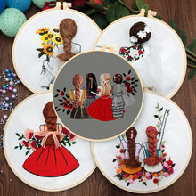 DIY Embroidery Cute Girls Handwork Needlework for Beginner Cross Stitch kit Ribbon Painting Embroidery Hoop Home Decoration