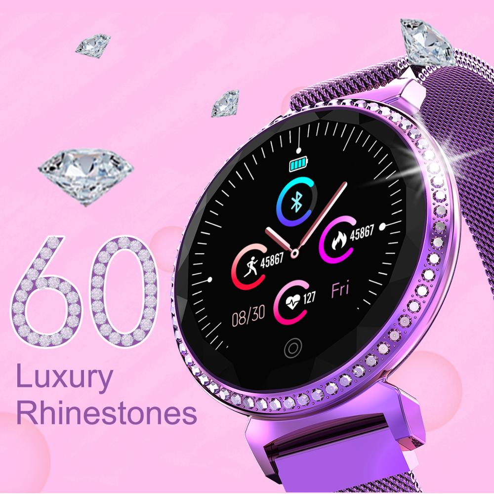 Purple Crystal Women For Android IOS Electronic Heart Rate Monitor Waterproof Ip67 Smart Watch Women Blood Pressure Measurement