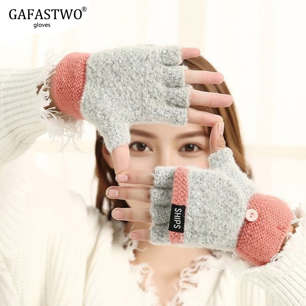 Autumn And Winter Japanese New Cute Ladies Gloves Students Thick Warm Five Fingers Flip Knit Wool Half Finger Gloves