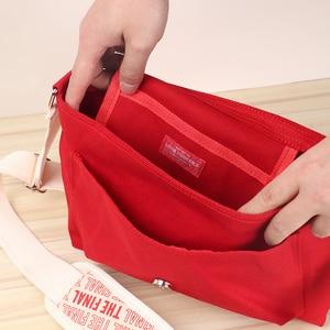 Image 3 - Kpop Bangtan sacs à bandoulière en toile rouge, sac à main pour pièces de monnaie pour maquillage