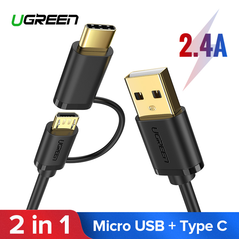 Ugreen USB Type C Cable for Samsung Galaxy S10 S9 Plus <font><b>2</b></font> in <font><b>1</b></font> Fast Charging Micro USB Cable for Xiaomi Tablet Android USB Cable image