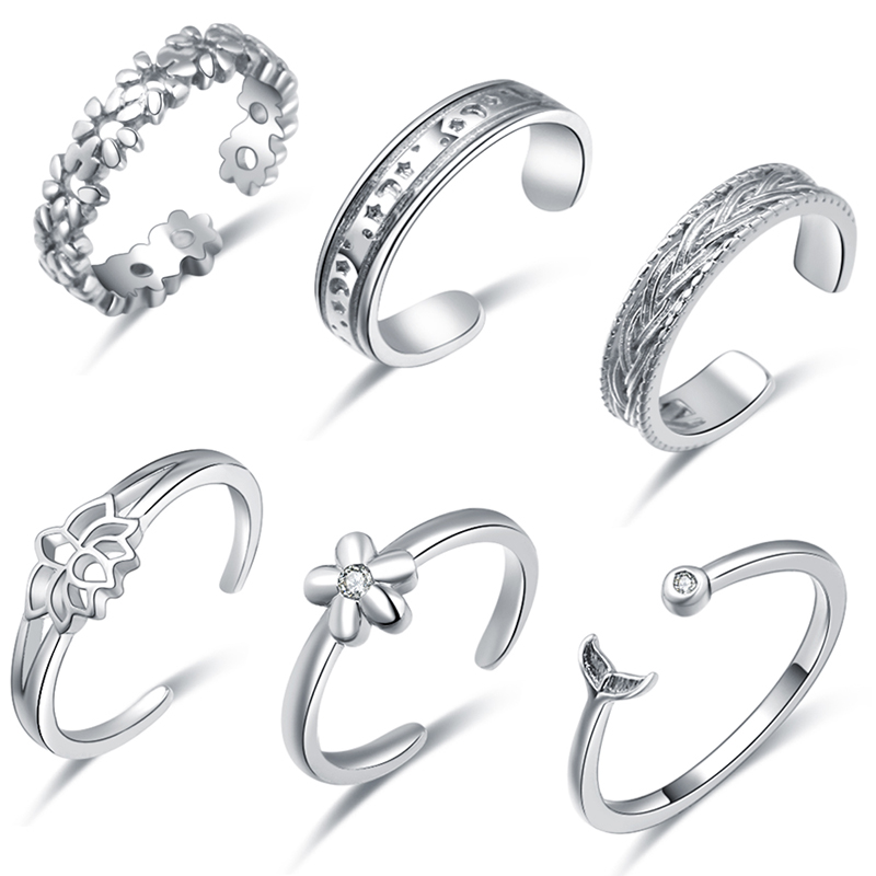 6pcs Toe Rings Set for Women Flower Star Shape CZ Open Tail Ring Adjustable Summer Vacation Dolphin Jewelry Gift(China)