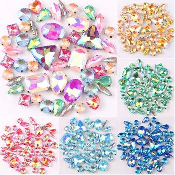 Ustawienie srebrnym mocowaniem jelly candy AB kolory 50 sztuk worek kształty mieszane szkło kryształowe szyć na sukni ślubnej rhinestone torba na buty diy wykończenia tanie i dobre opinie SNCRYSTAL Luźne dżety strasy Naszywka Shapes mix flatback DO ODZIEŻY Bags