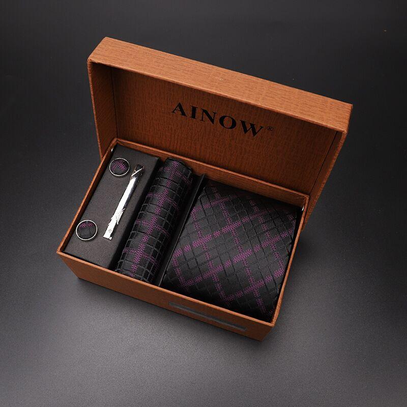 Набор галстуков 4 шт. мужской цветочный галстук для шеи клетчатый галстук подарок свадебный красный полосатый 8 см темно-синий жаккардовый тканый черный однотонный Камуфляжный ящик - Цвет: NO box 39