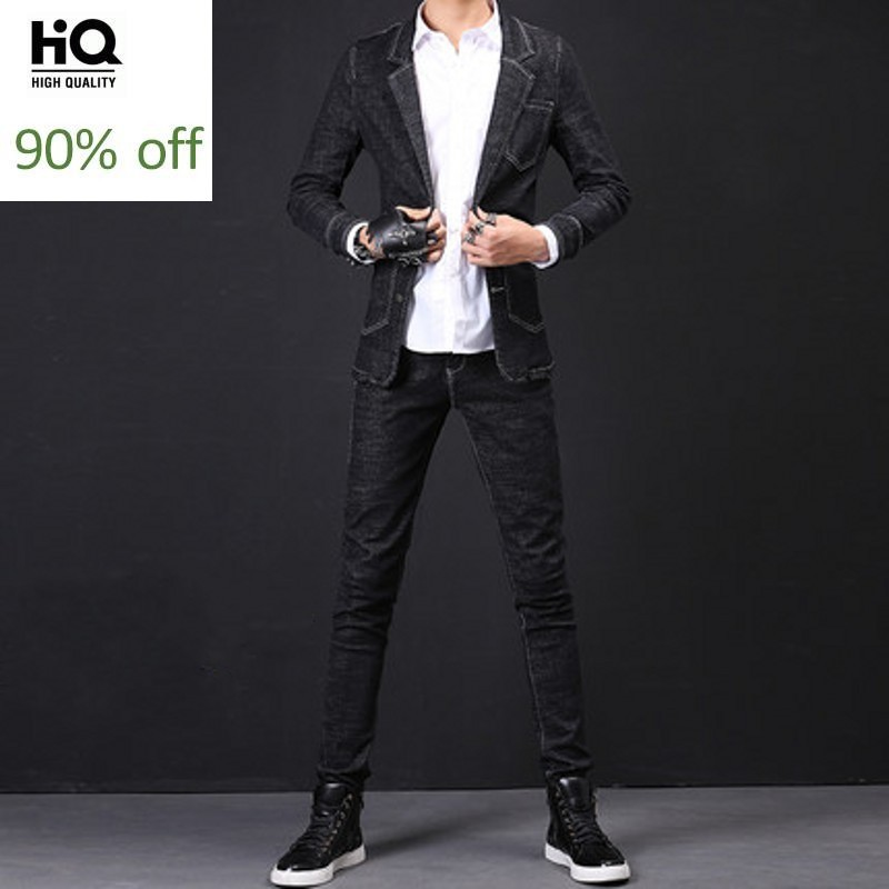 Mens Biker Sets 2020 Fashion Spring Streetwear Harajuku Punk Coat Stretchy Slim Fit Pencil Denim Pants Man Two Piece Plus Size