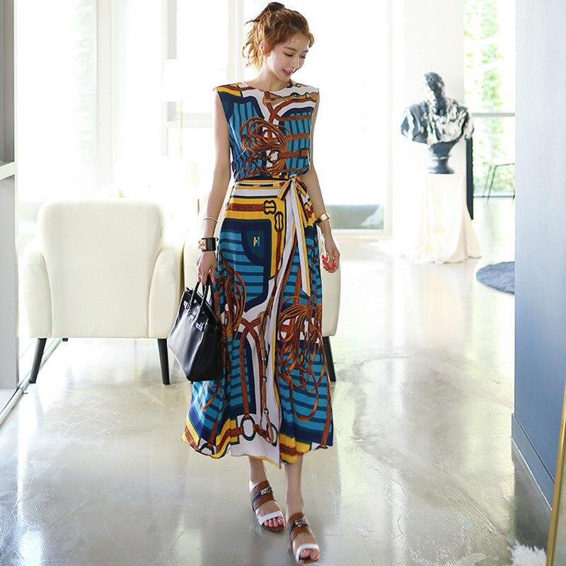 WOMEN'S Dress 2019 Spring New Products Debutante Elegant Crew Neck Printed Shirt + Waist Hugging Lace-up Skirt Set