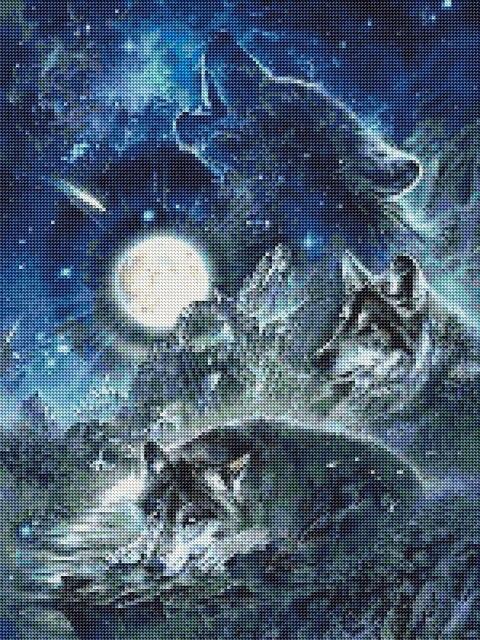 Peinture de loup diamant complète   Motif de personnages de dessin animé, broderie diamant, mosaïque point de croix, décorations murales, cadeau