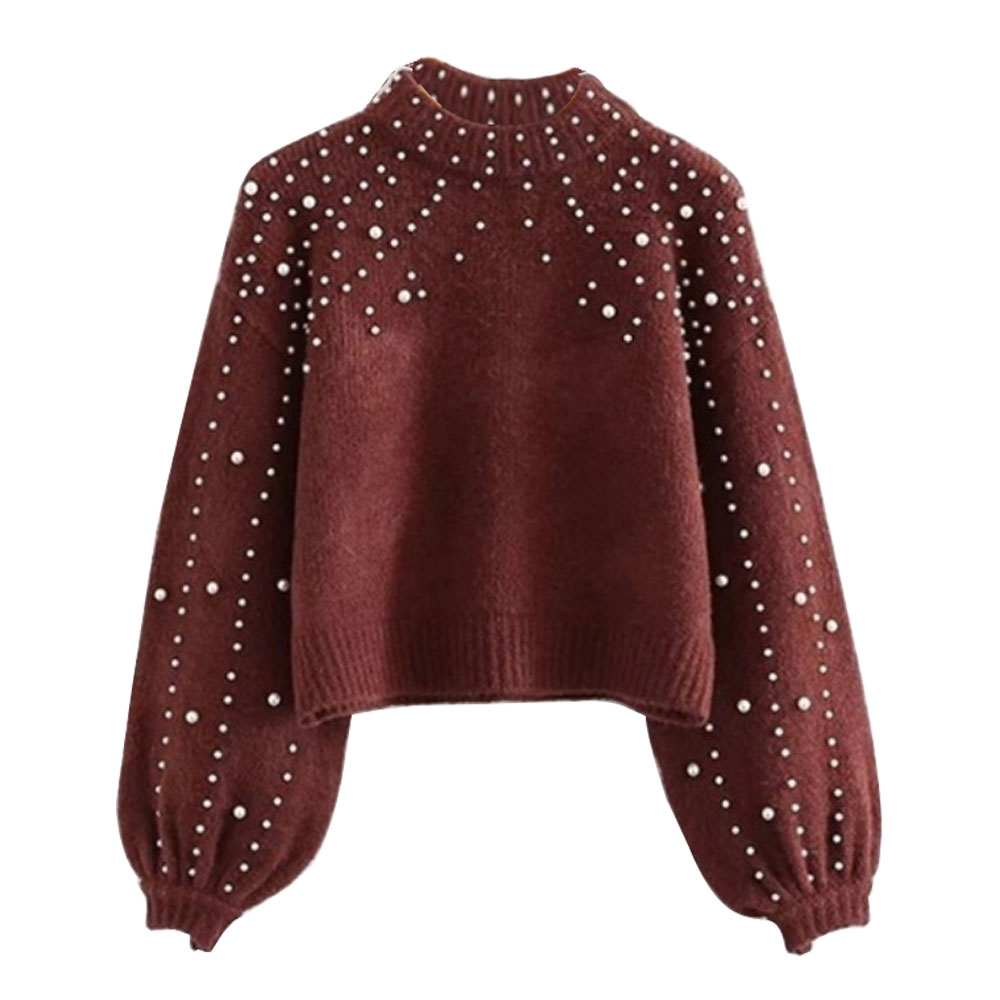 CALOFE 2019 Women Knitted Sweaters Fashion Casual Korean Style Female Long Sleeve Wrap Front Loose Pullover Jumper With Pearls