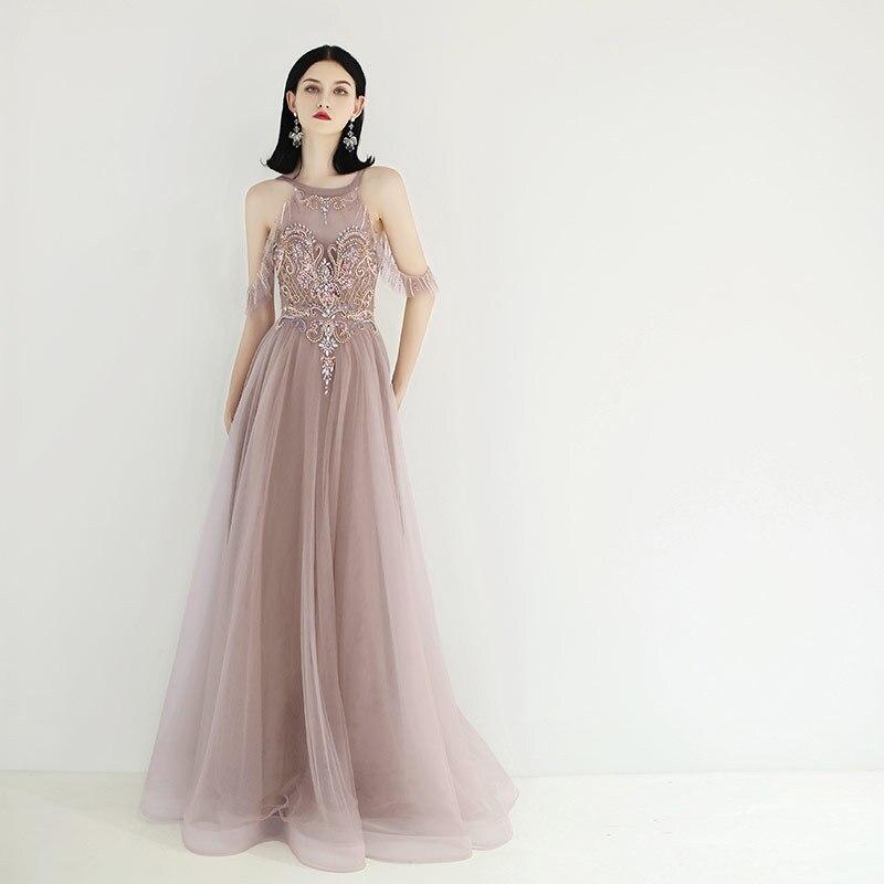 Новое поступление, платья для выпускного вечера с сексуальным вырезом на спине, украшенные жемчугом, вечерние платья трапециевидной формы
