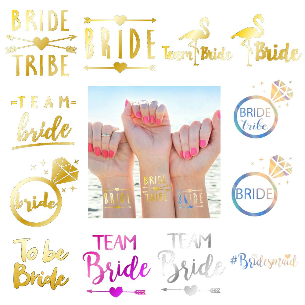 10pcs Wedding Decoration Bride To Be Temporary Tattoos Stickers Bridal Shower Party Supplies Team Bride Bachelorette Hen Party,Q