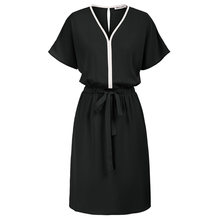 Vestido de cintura com cordão feminino manga curta batwing com decote em v a linha casual com lado aberto-costura bolsos mangas curtas batwing