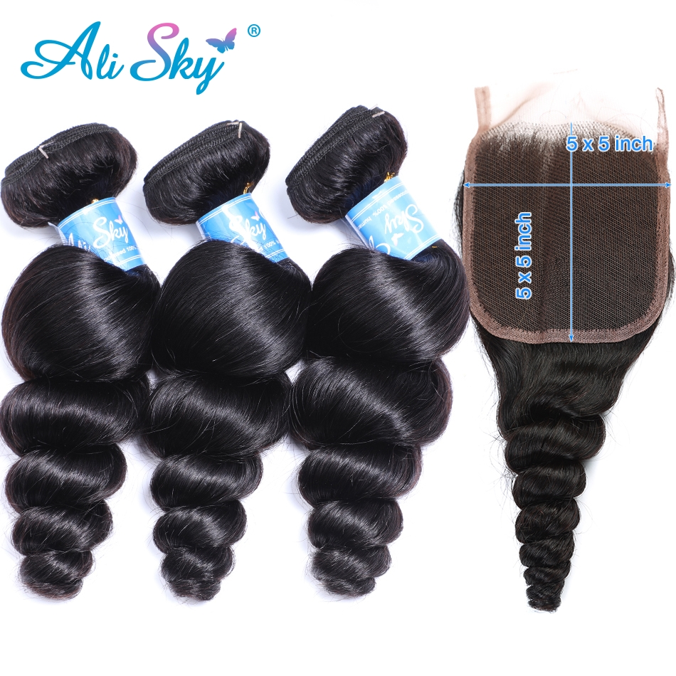 Alisky Peruvian Loose Wave Hair Weaves 3 Bundles With A 5*5 Lace Closure Mixed Length Human Hair Remy Can Be Dyed No Shedding
