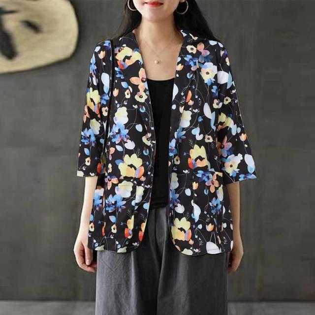 Autumn Floral Printed Blazers ZANZEA Women Long Sleeve Thin Coats Blusas Casual Single Button Tunic Top Female Plus Size