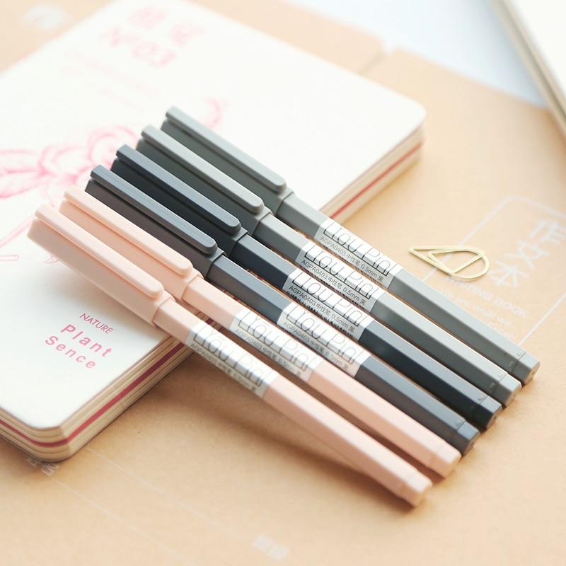 Simple six prism gel pen full needle black signature pen student stationery cute pen 0.5mm kawaii school office supplies