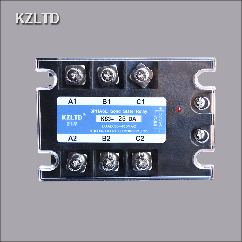 SSR Three-phase Solid State Relay 25A KZLTD Brand 12V24V380V Contactless Contactor KS3-25DA