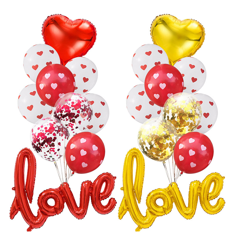 1Set Love Balloons Confetti Air Balloons Ball Helium Balloon For Valentine's Day Gift Wedding Decoration Balloons Party Supplies
