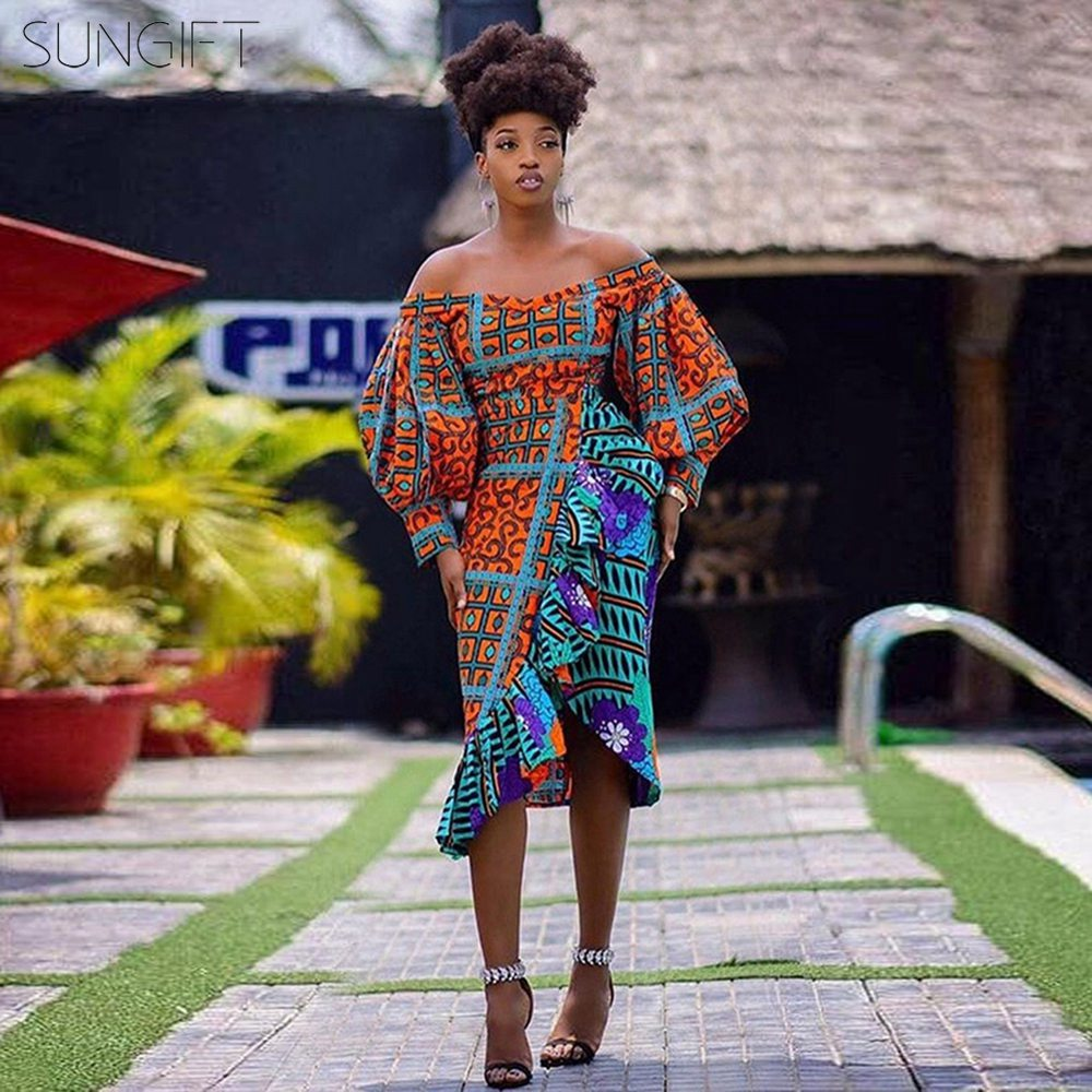 SUNGIFT African Dress For Women Dashiki African Print Ankara Contrast Stitching Ruffle Skirt Sexy V-neck Shoulder Puff Sleeve