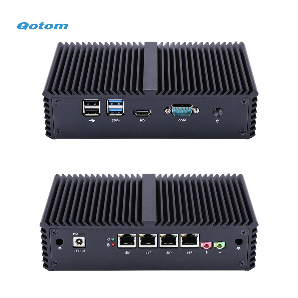 QOTOM Pfsense Mini PC With Core I3 I5 I7 Processor And 4 Gigabit NICs, Support AES-NI, Serial, Fanless Mini PC PFSense