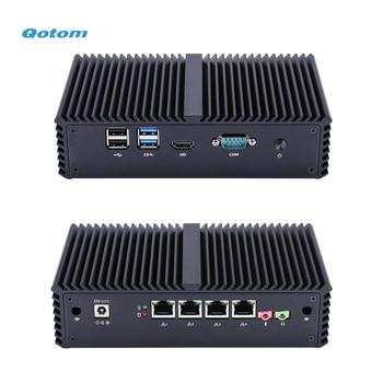 QOTOM Pfsense Mini PC with Core i3 i5 i7 processor and 4 Gigabit NICs, support AES-NI, Serial, Fanless Mini PC PFSense