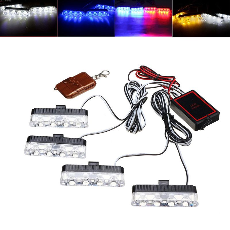 Red Blue Yellow White Auto car Front Grille Emergency Flash Warning light LED Strobe Light 3 Mode for Police Firefighter